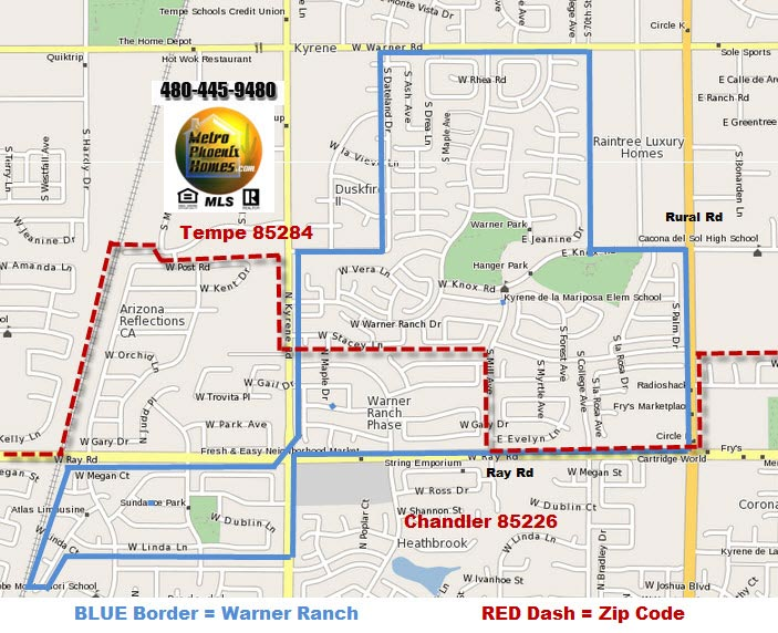 Map of location for Warner Ranch Tempe and Warner Ranch Chandler