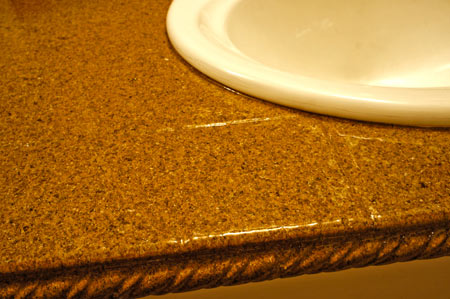 Alternate view of counter top in home bathroom remodel