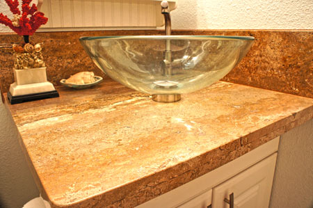 Home bathroom remodel with replacement granite project