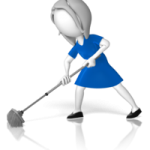 caricature of woman mopping floors